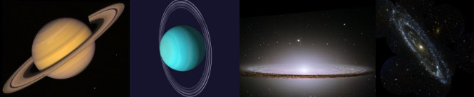 Saturn, Uranus, the Sombrero Galaxy, and the Andromeda Galaxy
