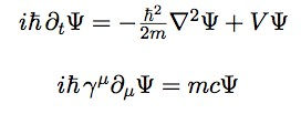 The Schrödinger Equation (top) and the Dirac equation (bottom).