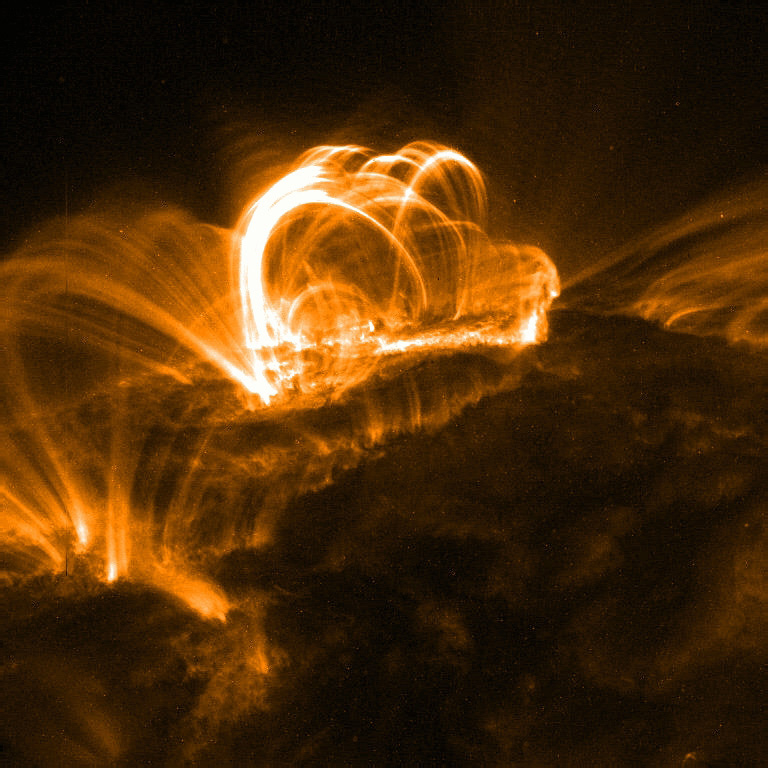 A solar flare as seen in the x-ray spectrum.