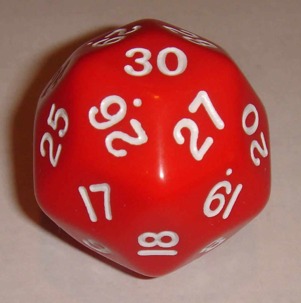 A d30, featuring both 3-edge points and 5-edge points.