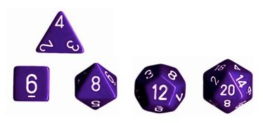 The five regular polyhedra: d4, d6, d8, d12, and d20.