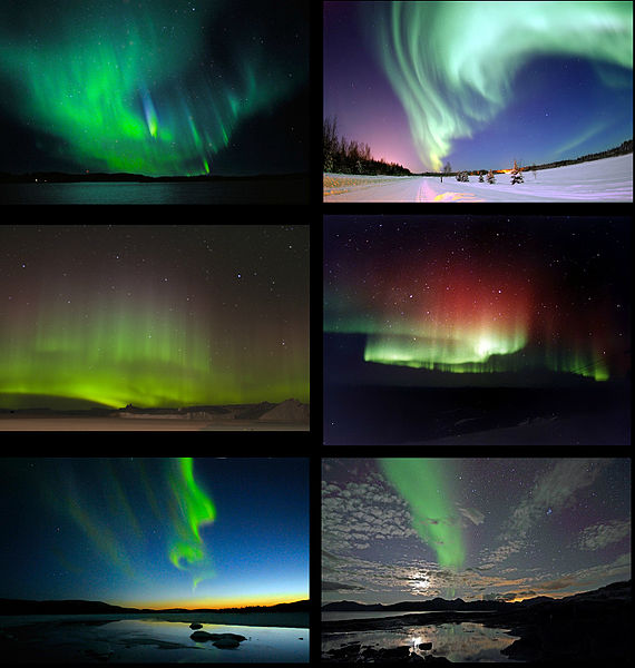 Charged particles from space following the magnetic field lines into the upper atmosphere.