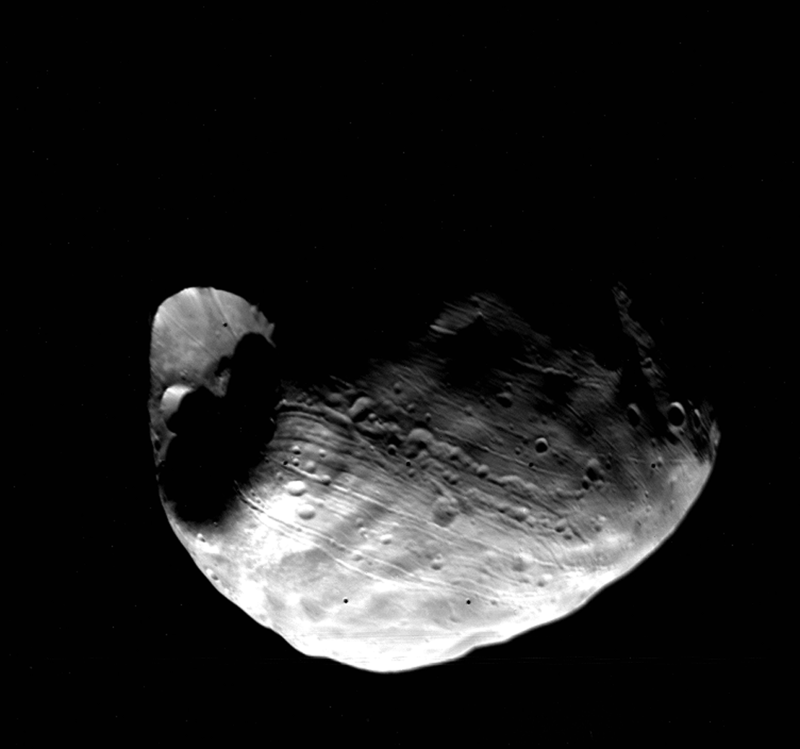Stickney Crater on Mars' moon Phobos.