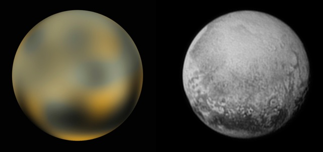 Pluto as seen by Hubble and New Horizons, a few million miles ago.