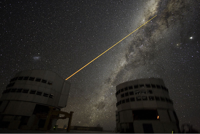 By carefully looking at how the atmosphere distorts a beam shot upwards from the telescope, we can take into account how the atmosphere affects light coming into the telescope from above.
