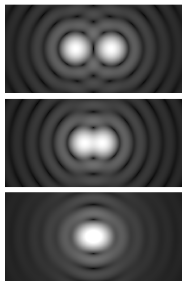 Every point in every image is surrounded by a rapidly diminishing Airy disk.