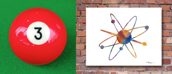 An actual photograph of a billiard ball (#3) and what we have in lieu of a photograph of an atom.