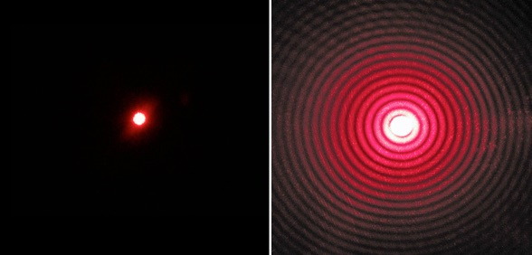 Left: Laser light going through a wide aperture. Right: laser light going through a very small aperture.