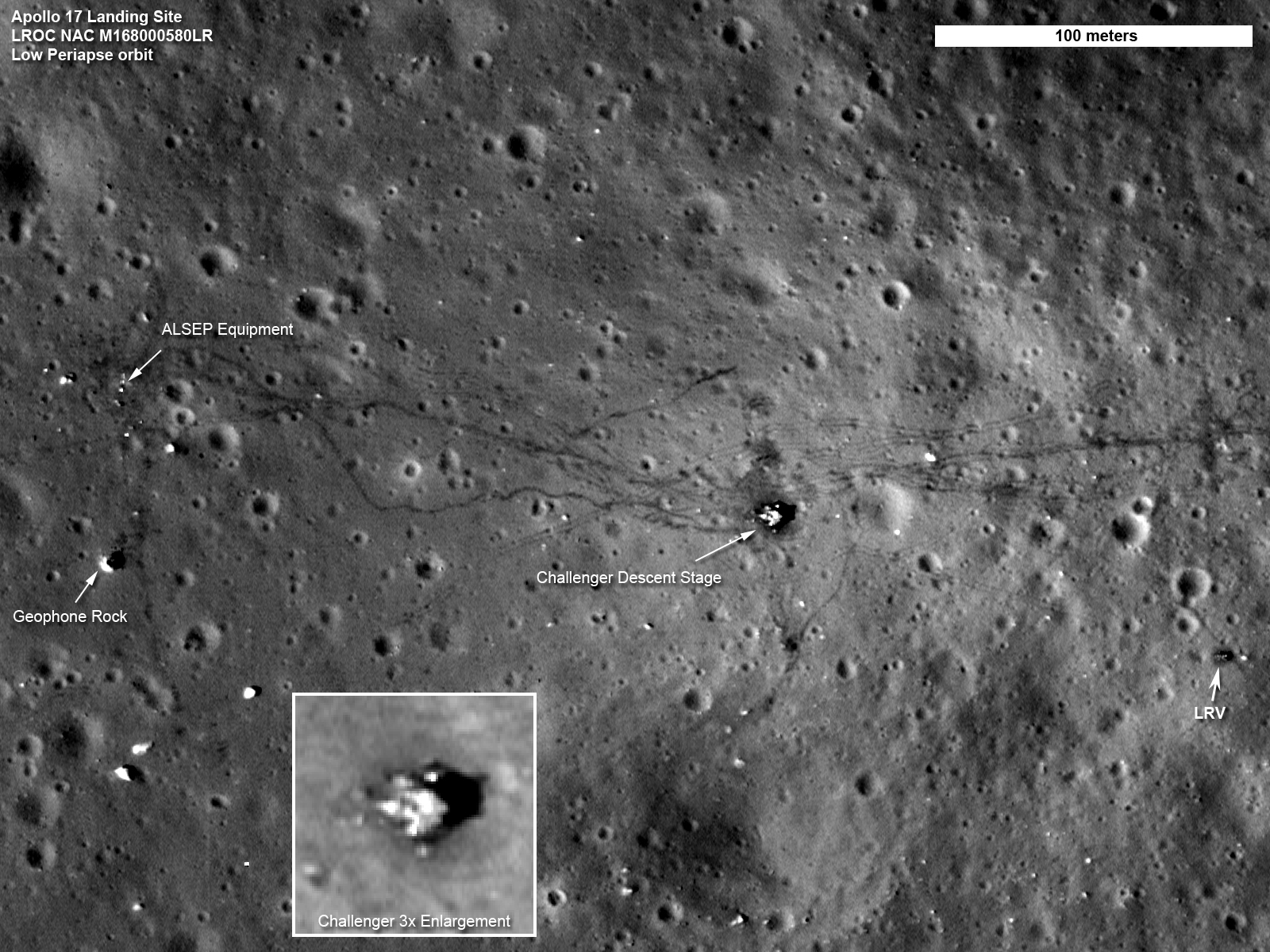 A picture of the Apollo 17 landing site taken by the Lunar Reconnaissance Orbiter which, as the name implies, was in orbit around the Moon when it took these rec